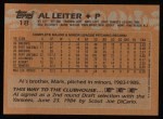 1988 Topps #18  Al Leiter  Back Thumbnail
