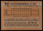 1988 Topps #348   Jim Eisenreich Back Thumbnail