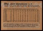 1988 Topps #425   Jeff Reardon Back Thumbnail