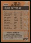1988 Topps #401  All-Star  -  Andre Dawson Back Thumbnail
