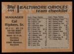 1988 Topps #444   Cal Ripken / Cal Ripken Sr. Back Thumbnail