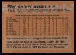 1988 Topps #168  Barry Jones  Back Thumbnail