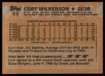 1988 Topps #53  Curt Wilkerson  Back Thumbnail