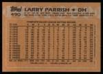 1988 Topps #490   Larry Parrish Back Thumbnail