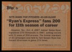 1988 Topps #6  Record Breaker  -  Nolan Ryan Back Thumbnail