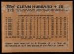 1988 Topps #325   Glenn Hubbard Back Thumbnail