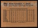 1988 Topps #458  Ron Hassey  Back Thumbnail
