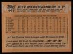 1988 Topps #447   Jeff Montgomery Back Thumbnail