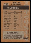 1988 Topps #395  All-Star  -  Jimmy Key Back Thumbnail