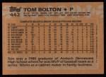 1988 Topps #442   Tom Bolton Back Thumbnail