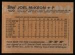1988 Topps #409   Joel McKeon Back Thumbnail