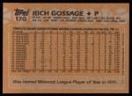 1988 Topps #170  Goose Gossage  Back Thumbnail