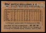 1988 Topps #26  Mitch Williams  Back Thumbnail