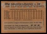 1988 Topps #205  Nelson Liriano  Back Thumbnail