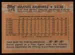 1988 Topps #379   Rafael Ramirez Back Thumbnail