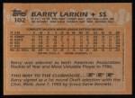 1988 Topps #102  Barry Larkin  Back Thumbnail