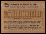 1988 Topps #450  Barry Bonds  Back Thumbnail