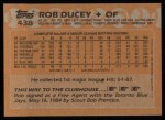 1988 Topps #438   Rob Ducey Back Thumbnail