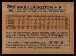1988 Topps #80   Mark Langston Back Thumbnail