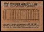1988 Topps #255   Mookie Wilson Back Thumbnail