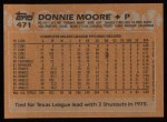 1988 Topps #471  Donnie Moore  Back Thumbnail
