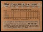 1988 Topps #183   Tom Lawless Back Thumbnail