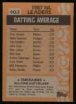 1988 Topps #403  All-Star  -  Tim Raines Back Thumbnail
