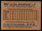 1988 Topps #101   Allan Anderson Back Thumbnail