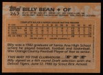 1988 Topps #267  Billy Bean  Back Thumbnail