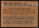 1988 Topps #267   Billy Bean Back Thumbnail