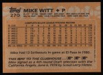 1988 Topps #270  Mike Witt  Back Thumbnail