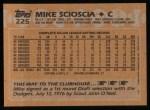 1988 Topps #225   Mike Scioscia Back Thumbnail