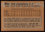 1988 Topps #347  Joe Johnson  Back Thumbnail