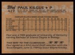 1988 Topps #427  Paul Kilgus  Back Thumbnail
