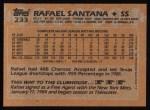 1988 Topps #233   Rafael Santana Back Thumbnail