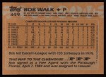 1988 Topps #349  Bob Walk  Back Thumbnail