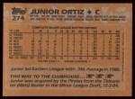 1988 Topps #274  Junior Ortiz  Back Thumbnail
