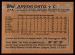 1988 Topps #274  Junior Ortiz  Back Thumbnail