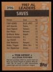 1988 Topps #396   -  Tom Henke All-Star Back Thumbnail