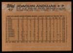 1988 Topps #47   Joaquin Andujar Back Thumbnail