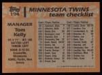 1988 Topps #194   Tom Kelly Back Thumbnail
