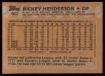 1988 Topps #60   Rickey Henderson Back Thumbnail