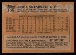 1988 Topps #109  Joel Skinner  Back Thumbnail