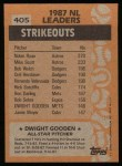 1988 Topps #405   -  Dwight Gooden All-Star Back Thumbnail