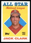 1988 Topps #397  All-Star  -  Jack Clark Front Thumbnail