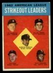 1963 Topps #10  1962 AL Strikeout Leaders  -  Jim Bunning / Camilo Pascual / Jim Kaat / Juan Pizarro / Ralph Terry Front Thumbnail