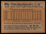 1988 Topps #375  Tom Brunansky  Back Thumbnail