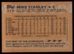 1988 Topps #219   Mike Stanley Back Thumbnail