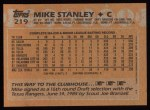 1988 Topps #219   Mike Stanley Back Thumbnail