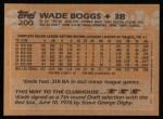 1988 Topps #200   Wade Boggs Back Thumbnail